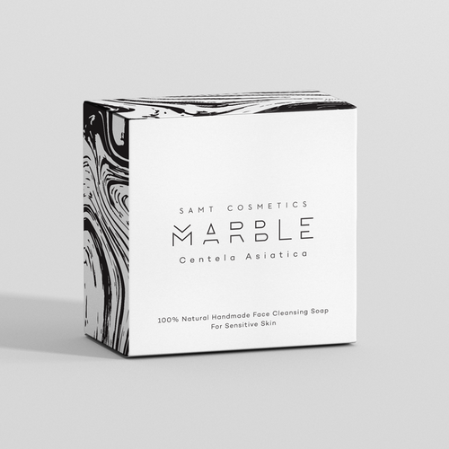 Black and white packaging with the title 'Packaging for luxury hand made face soap'