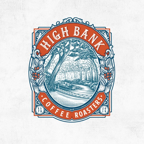 Scratchboard design with the title 'High Bank Coffee Roasters'