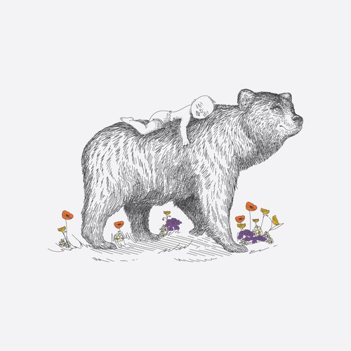 Whimsical design with the title 'Birth announcement Bear '