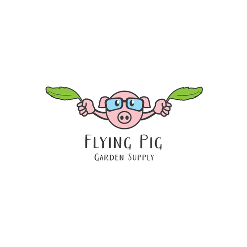 Aviator logo with the title 'Flying Pig logo'