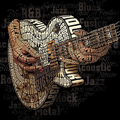 Electric Guitar (Les Paul) Typography Illustration