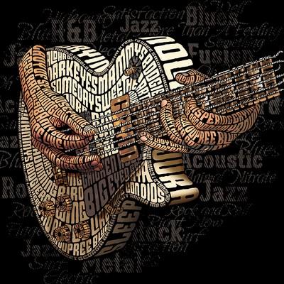 电吉他(Les Paul)印刷插图