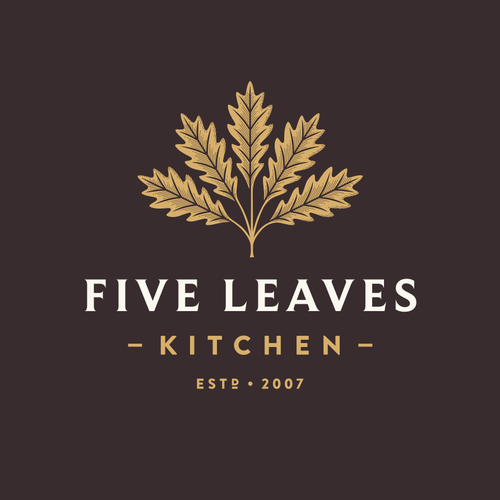 Kitchen logo with the title 'Five Leaves'