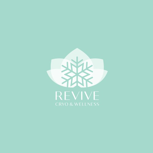 Snowflake design with the title 'Logo for REVIVE Cryo & Wellness'