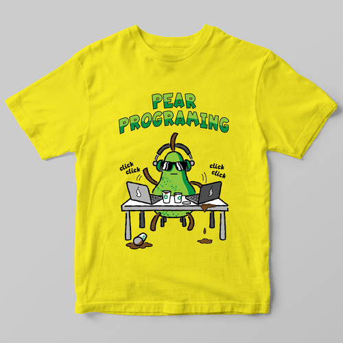 Fruit t-shirt with the title 'Just a pear programing'