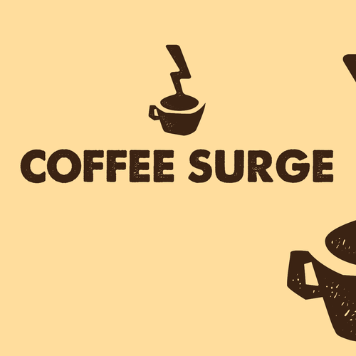 Coffee house logo with the title 'COFFEE SURGE'