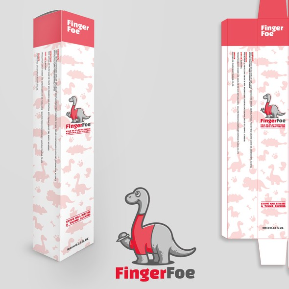 Cartoon packaging with the title 'Packaging for nail-biting preventative'