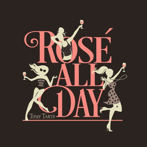 Playful artwork with the title 'rose' all day t-shirt design'