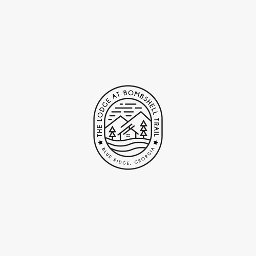 Lodge design with the title 'Minimalist Logo Concept for The Lodge, at  Blue Ridge, GA'