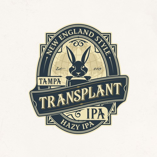 Globe logo with the title 'Transplant IPA Beer Label '