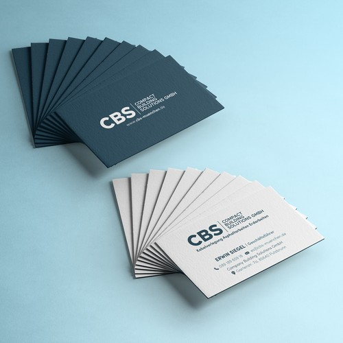 White and blue design with the title 'Business Card for Company Building Solutions GmbH'