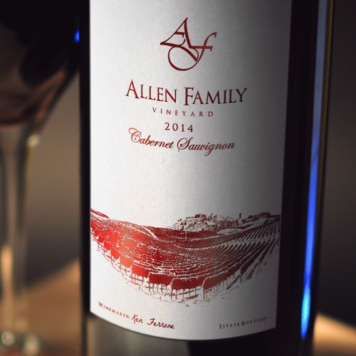 Wine bottle design with the title 'Allen Family Wine Label '