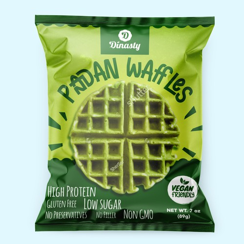 Waffle design with the title 'Fun concept for green waffles'