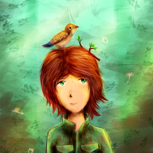 Imagination artwork with the title 'Whimsical Illustration of Forest Girl'