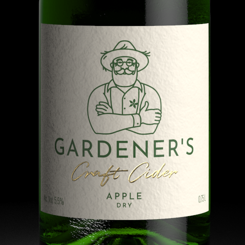 Craft packaging with the title 'GARDENER'S Cider Label Design'