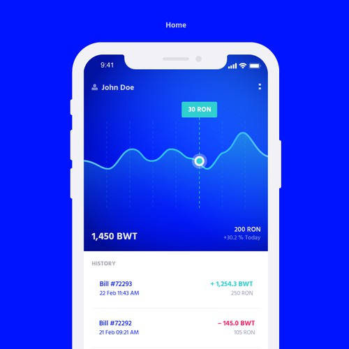 Usability design with the title 'Crypto mobile app'