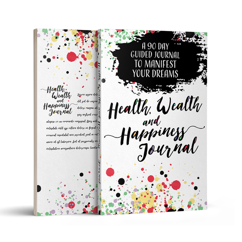 Journal design with the title 'Health, Wealth and Happiness Journal'