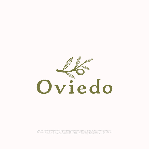 Olive oil design with the title 'Hand-drawn logo for Oviedo olive oil company'