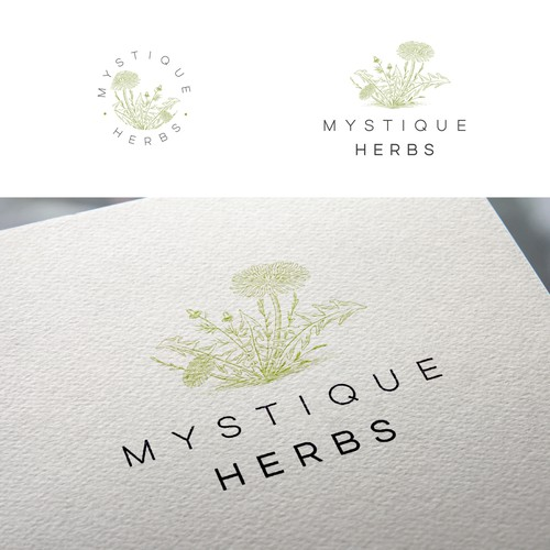 Apothecary design with the title 'Mystique Herbs'