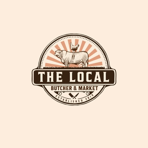 Farm animal logo with the title 'The Local Butcher & Market'