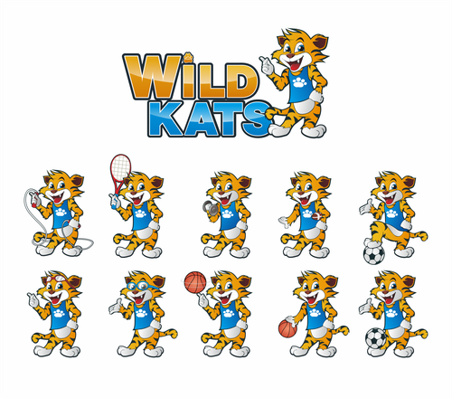 Ball logo with the title 'Mascot logo for Wild Kats sport ivent'