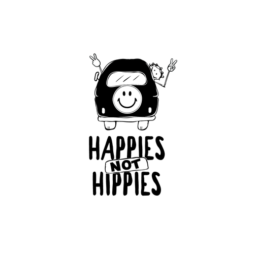 Hippie logo with the title 'Happies not hippies'