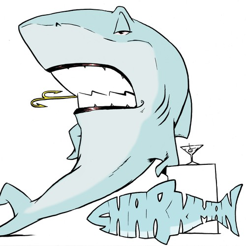 Anthropomorphic design with the title 'Be Famous ...create Sharkman :-)'