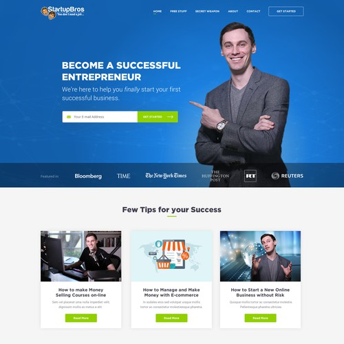 Blog website with the title 'StartupBros for Successful Entrepreneurs'