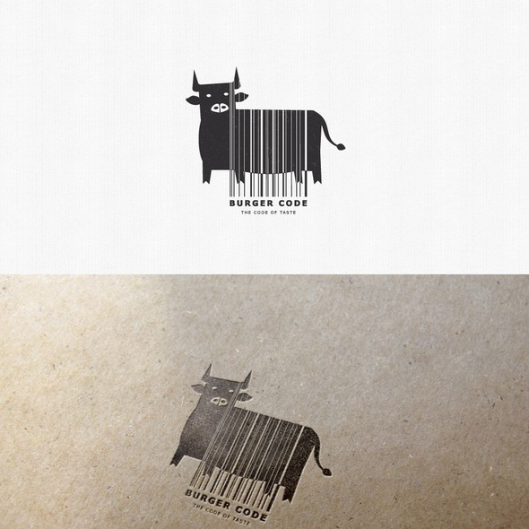 Barcode design with the title 'Logo for a burger house'