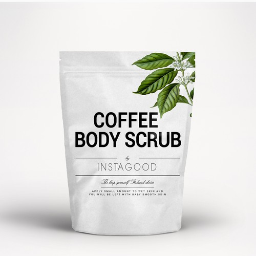 Stand-up pouch design with the title 'cosmetic package stand up bag body scrub'