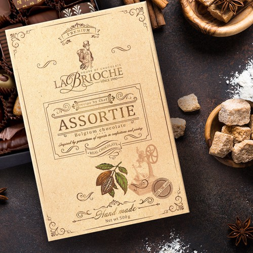 Handmade packaging with the title 'LaBrioche hand-made chocolate packaging design'
