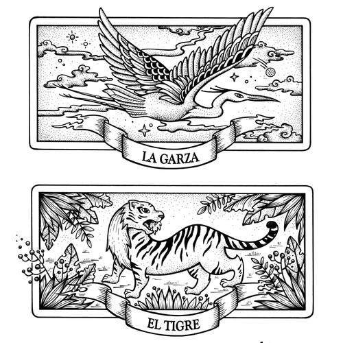 Alligator design with the title 'Heron, Tiger & Alligator'