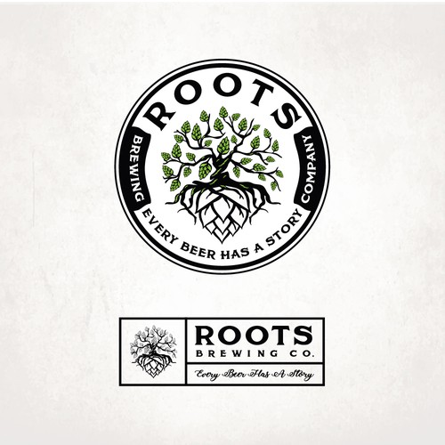 Distillery design with the title 'ROOTS'