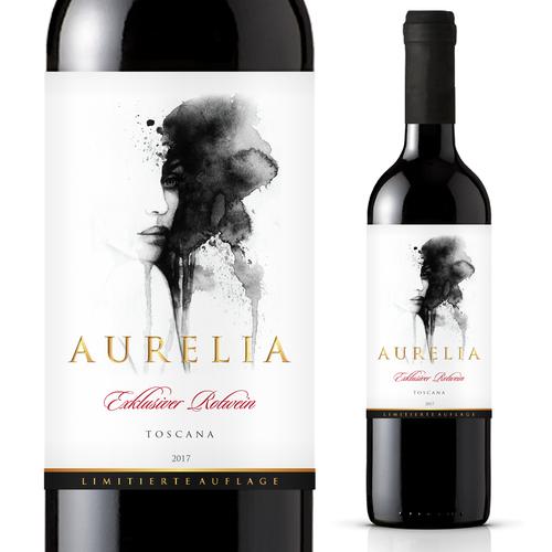 Red wine label with the title 'Wine Etikette für Premium wine Aurelia'