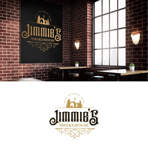 Bourbon logo with the title 'Logo concept for Jimmy's Smokehouse '