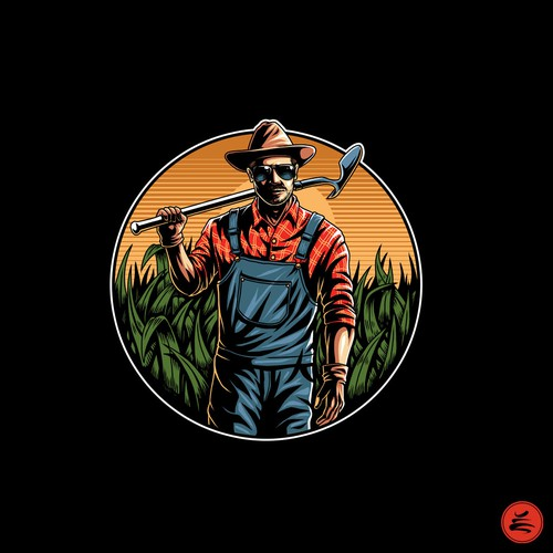 Character t-shirt with the title 'the farmer'