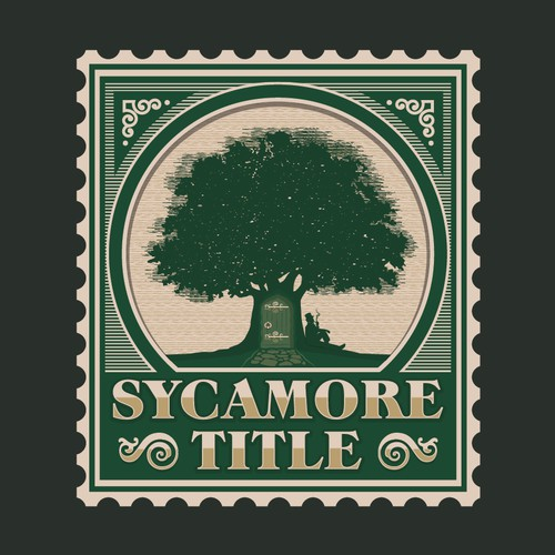 Filigree logo with the title 'Sycamore Title Postage Style Logo'