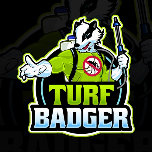 Lawn care logo with the title 'Turf Badger'