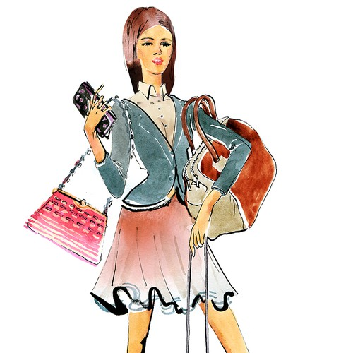 Watercolor artwork with the title 'Illustration of a fashion orientated female who loves her handbags..'
