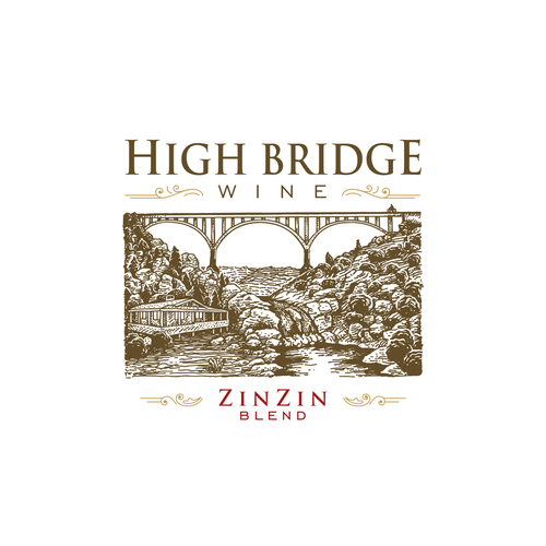 Bridge design with the title 'High Bridge Winery'