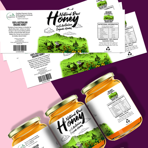 Raw label with the title 'Honey jar Labeling'