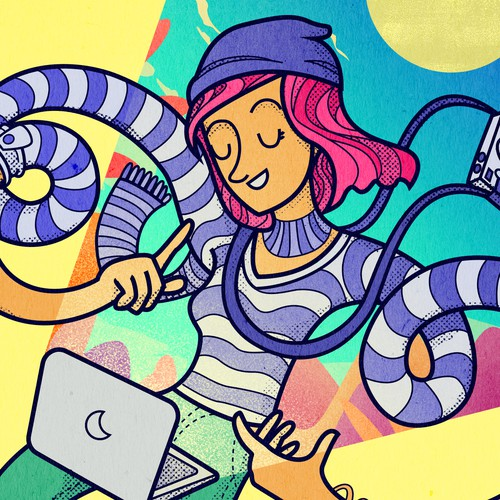 Landing page illustration with the title 'Trendy Illustration of Creative Female'