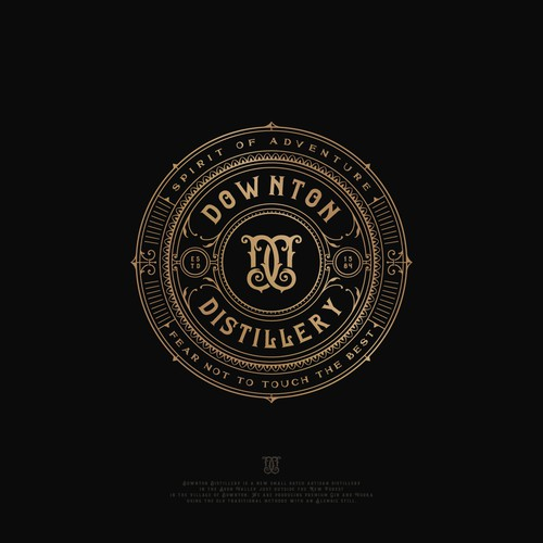 Ornamental logo with the title 'Downton Distillery'
