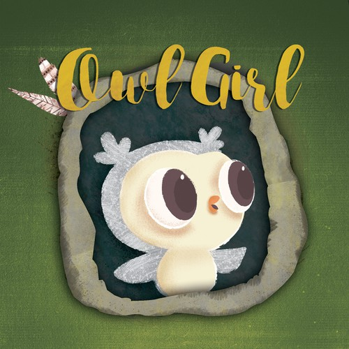 "Owl book cover with the title 'Book cover design proposal for the story ""Owl girl"" '"
