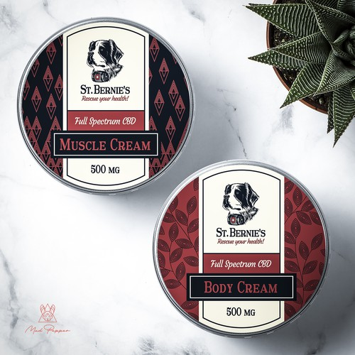 Masculine design with the title 'Muscle and Body Cream Label design for St. Bernie's'