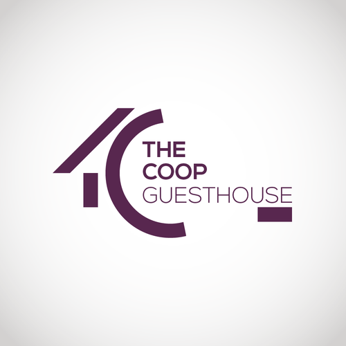 Gestalt design with the title 'The coop guesthouse'