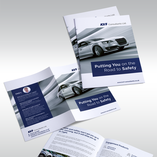Insurance design with the title 'Brochure design for KVF Consultants LTD'