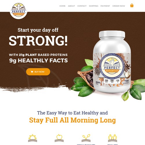 Supplement website with the title 'Redesign of Perfect Breakfast'
