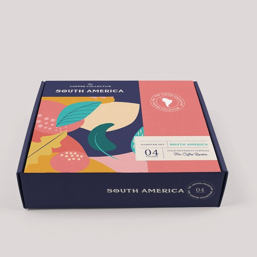 "Pink and blue design with the title ' packaging for a  ""giftable""  coffee sampler . First one from South America'"