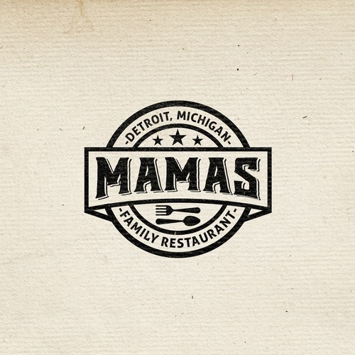 Class logo with the title 'Vintage Logo for MAMA'S restaurant'